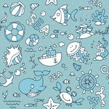 Animals sea. Seamless nautical children`s pattern for children and design. With the image of fish, whale, crab, shells, ship, anchor, rudder of the ship royalty free illustration