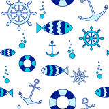 Seamless nautical elements background Stock Images
