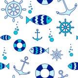 Seamless nautical elements background Stock Images