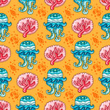 Seamless nautical pattern. Coral Jellyfish background Stock Images
