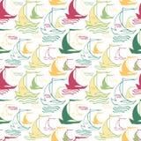 Seamless nautical pattern with decorative sailing Royalty Free Stock Photo