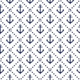 Seamless nautical pattern with diagonal lines anchor colors navy background. royalty free illustration