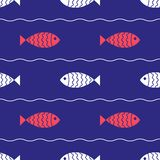 Seamless nautical pattern with fish Royalty Free Stock Photography