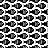 Seamless nautical pattern with fish Stock Photos