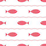 Seamless nautical pattern with fish. Design element for wallpapers, baby shower invitation, birthday card, scrapbooking, fabric print etc Stock Images
