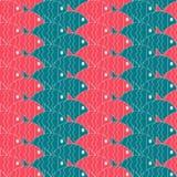 Seamless nautical pattern with fish. Stock Photo