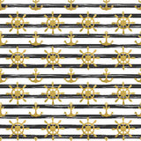 Seamless nautical pattern with golden anchors and ship wheels on white black striped background. Stock Images