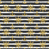 Seamless nautical pattern with golden anchors and ship wheels on white black striped background. Stock Photos