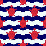 Seamless nautical pattern with little red turtles Stock Image