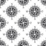 Seamless nautical pattern with old compass Royalty Free Stock Images