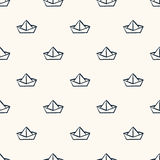 Seamless nautical pattern with paper boats. Royalty Free Stock Image