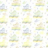 Seamless nautical pattern, paper ships ornament. Child illustration Stock Photos