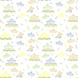 Seamless nautical pattern, paper ships ornament. Child illustration Royalty Free Stock Image