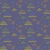 Seamless nautical pattern, paper ships ornament. Child illustration Stock Image