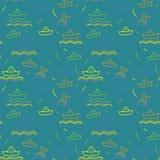 Seamless nautical pattern, paper ships ornament. Child illustration Royalty Free Stock Photo