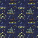 Seamless nautical pattern, paper ships ornament. Child illustration Stock Images