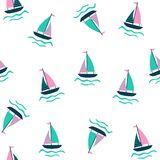 Seamless nautical pattern with sailing ship. Royalty Free Stock Photo