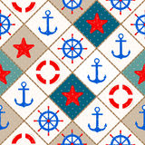 Seamless nautical pattern with sea theme elements background Royalty Free Stock Photos