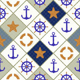 Seamless nautical pattern with sea theme elements background Royalty Free Stock Photography