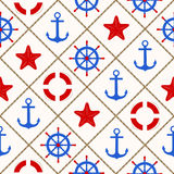 Seamless nautical pattern with sea theme elements Stock Images