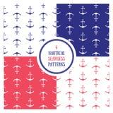 Seamless nautical pattern set Royalty Free Stock Images