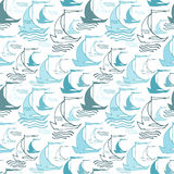 Seamless nautical pattern with ships Royalty Free Stock Image