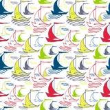 Seamless nautical pattern with ships Stock Photo