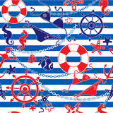 Seamless nautical pattern on background vector illustration
