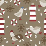 Seamless nautical pattern texture elements background Royalty Free Stock Image