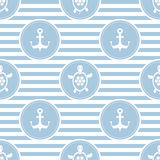 Seamless nautical pattern with turtles and anchors Stock Photos