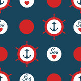 Seamless nautical pattern vector with anchors ship wheels red polka dots and sea love with heart marine background vintage retro d. Esign navy blue Royalty Free Stock Images