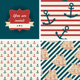 Seamless nautical patterns Royalty Free Stock Photos