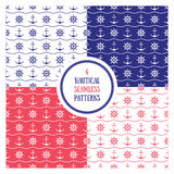 Seamless nautical patterns set Royalty Free Stock Photography