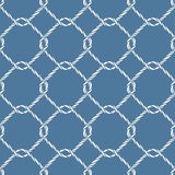 Seamless nautical rope knot pattern. Endless navy illustration with white fishing net ornament and twisted cord on blue backdrop. Trendy maritime style Stock Photos
