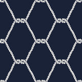 Seamless nautical rope pattern - Half knots. Seamless nautical rope pattern. Endless navy illustration with white fishnet ornament. Marine half knots on dark stock illustration