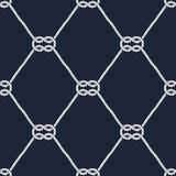 Seamless nautical rope pattern - Square knots. Seamless nautical rope pattern. Endless navy illustration with white loop ornament. Marine square knots on dark stock illustration
