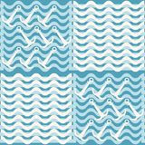 Seamless blue and white nautical pattern of waves and anchors Royalty Free Stock Images
