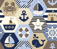 Seamless nautical themed vector pattern. vector illustration