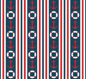 Seamless nautical vertical stripes pattern vector with anchors and life buoys   Royalty Free Stock Photography
