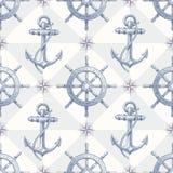 Seamless nautisk bakgrund med hand tecknad eleme royaltyfri illustrationer
