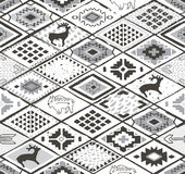 Seamless navajo pattern with rhombus. Pencil Drawing Royalty Free Stock Image