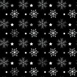 Seamless navy black background with snowflakes. Pattern snowfall with sparkling flares. royalty free illustration