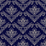Seamless navy blue Wallpaper with damask Ornament for design Royalty Free Stock Photography