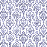 Seamless Navy Blue & White Damask Stock Image