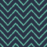 Seamless neon blue zigzag ikat pattern vector Stock Image