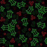 Seamless neon holly background Stock Photos