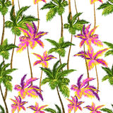 Seamless neon palm pattern. Seamless vector palm pattern with layered colorful neon palm leaves and beautiful silhouettes, for swimwear, wall paper Royalty Free Stock Photo