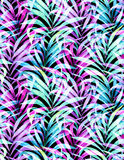Seamless neon palm pattern Stock Photos