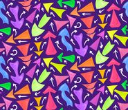 Seamless neon pattern of hand drawn multicolored different chaotic arrows on violet background. Vector kids background for your design royalty free illustration