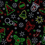 Seamless neon Xmas background Royalty Free Stock Photos